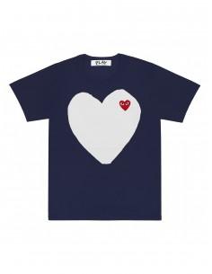 CDG PLAY - T-shirt bleu avec double coeur blanc et rouge devant
