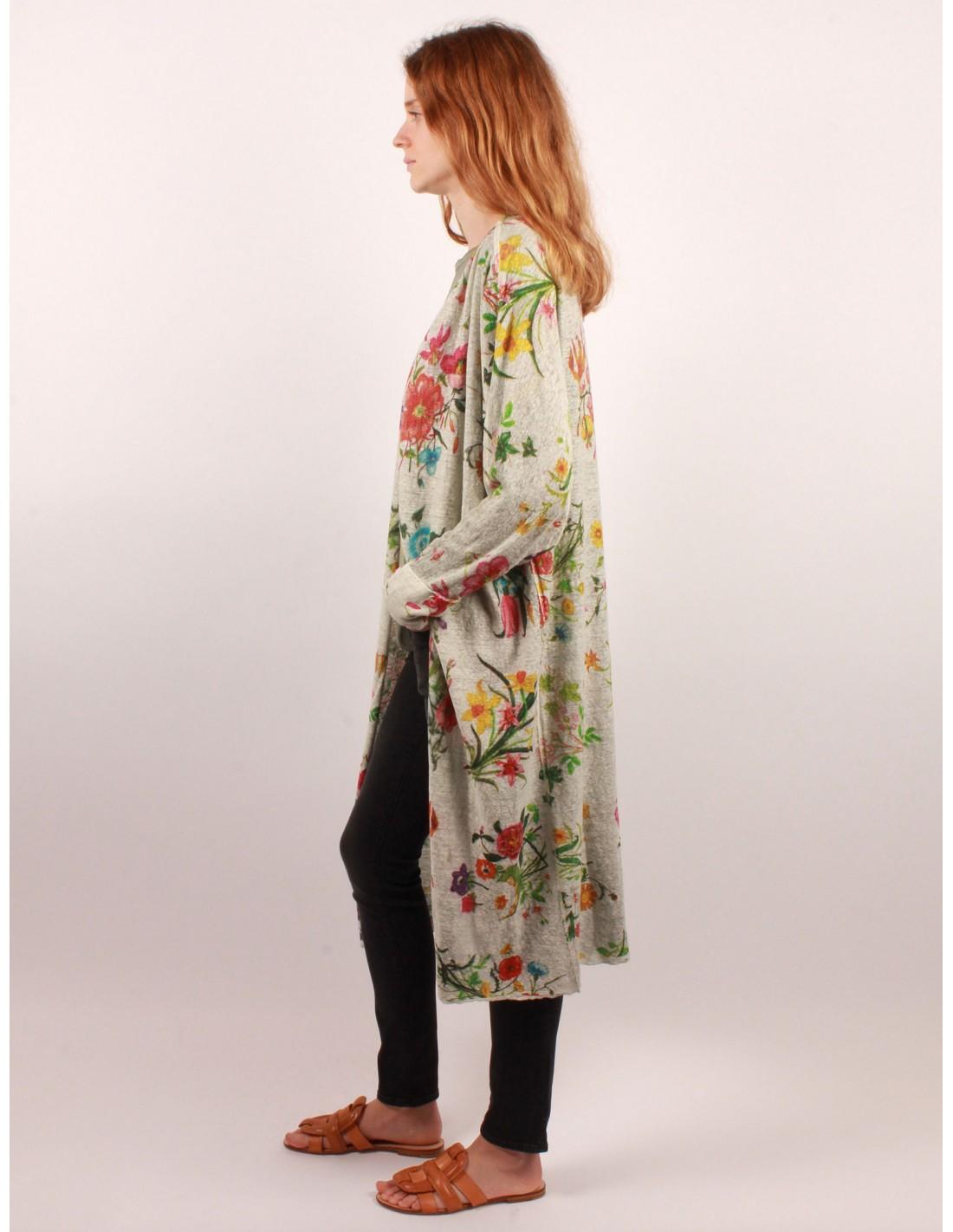 Cardigan Kimono En Lin Avec Imprim Floral Avant Toi Pour Femme