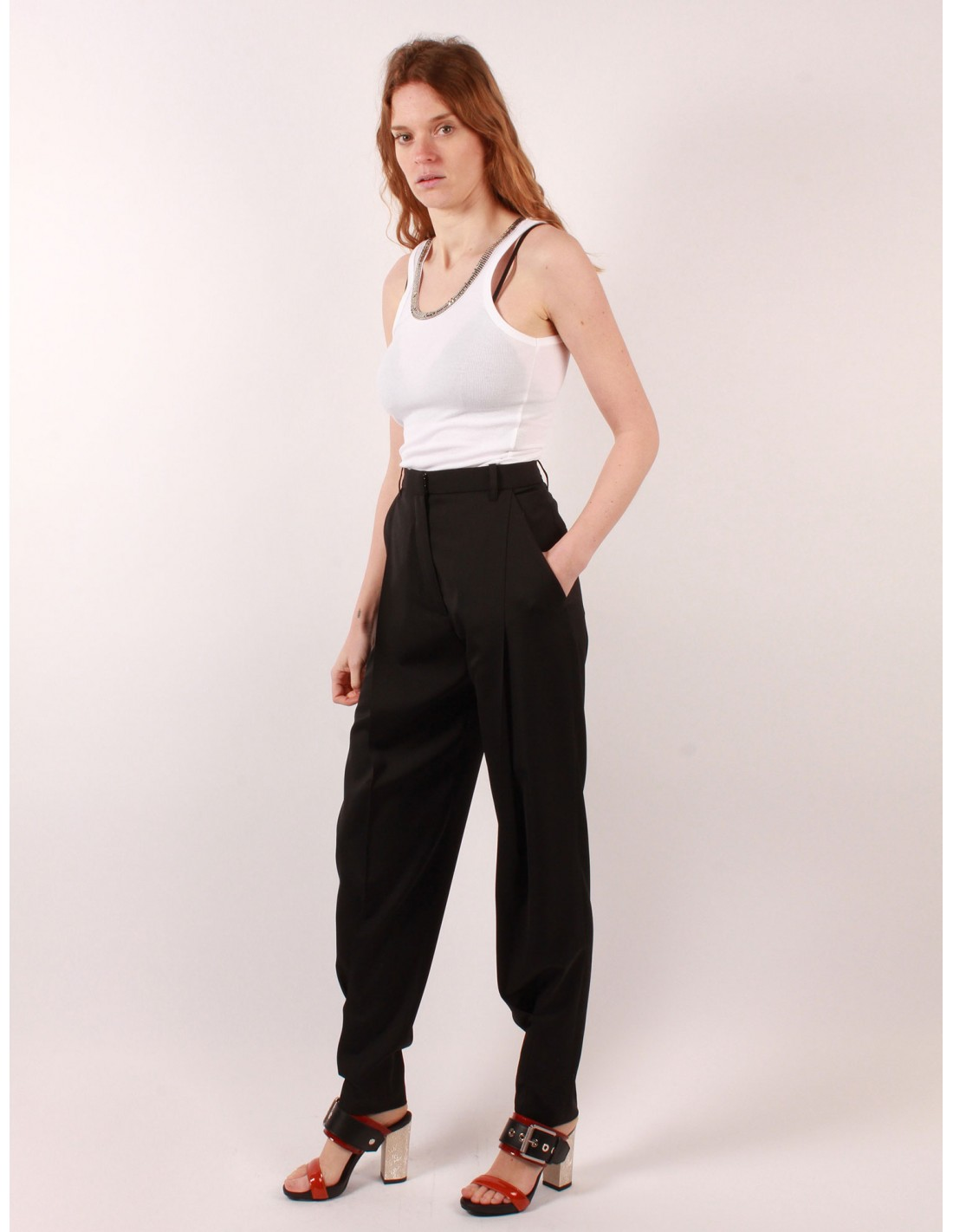 Pour Bui Noire Pantalon Barbara Carotte Femme Haute Serie Taille PXnwx7qZwO