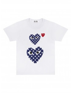 CDG PLAY - White cotton tee with two navy dots hearts