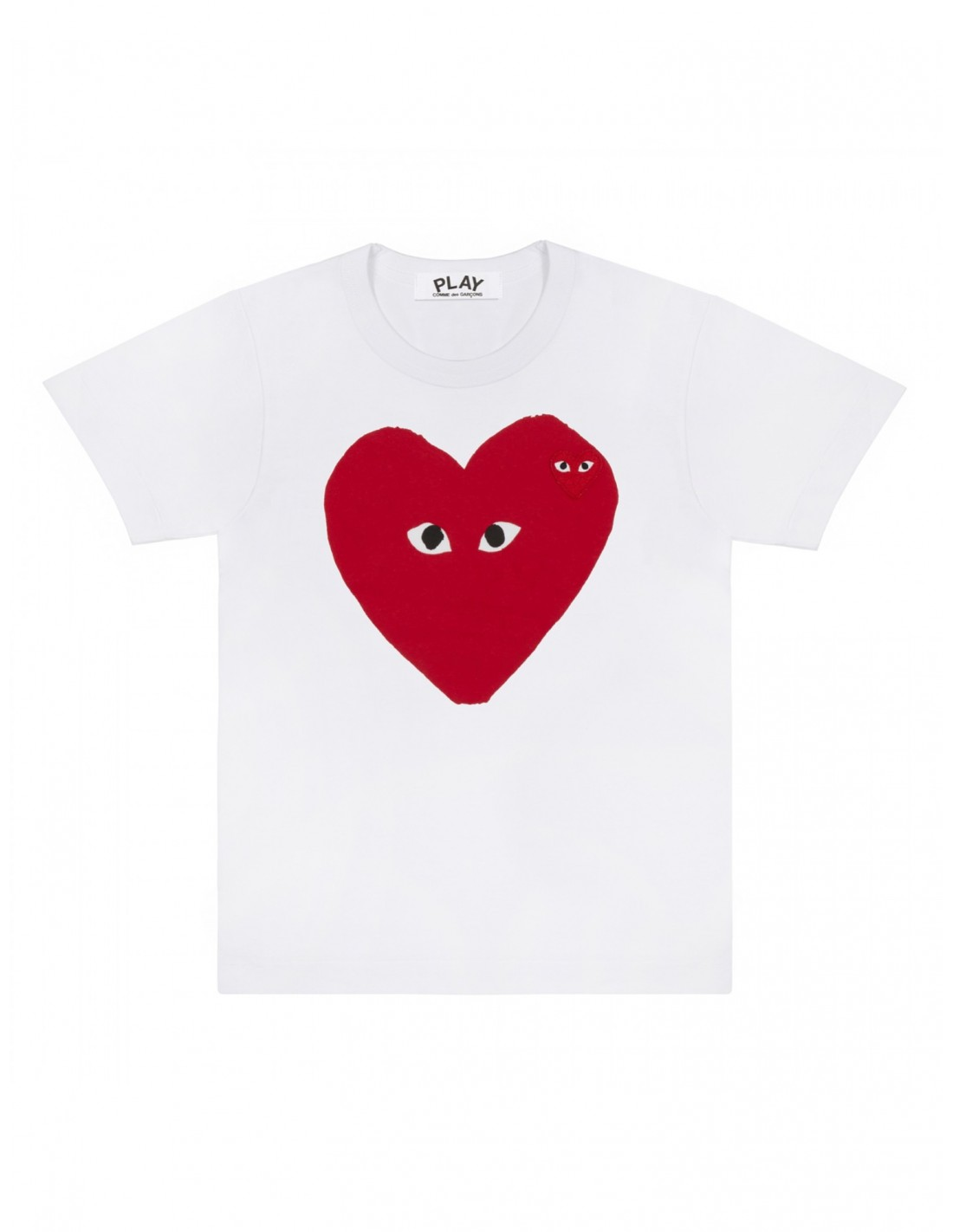 White Tee With A Big Red Heart With Small Eyes Comme Des Garcons
