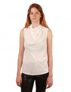 rick owens top soie col tombant