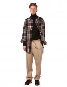 maison margiela pantalon jogging beige en laine