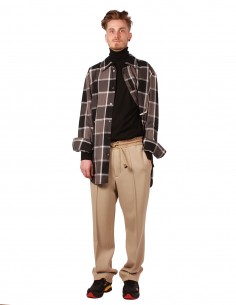 maison margiela track pants in beige wool
