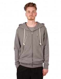 maison margiela grey hoodie with maxi zips