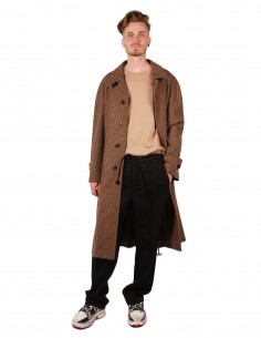 Manteau long MAISON MARGIELA en laine marron motif pied-de-poule