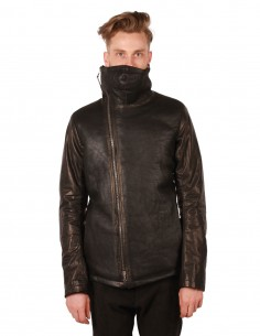 isaac sellam sniper black leather jacket with high collar
