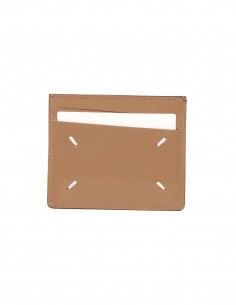 Porte-cartes en cuir marron orné de surpiqûres maison margiela