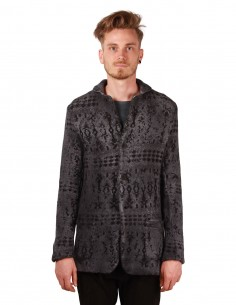 avant toi Norwegian jacquard jacket in blue-grey wool