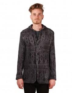Veste en laine jacquard Norvégien bleu gris