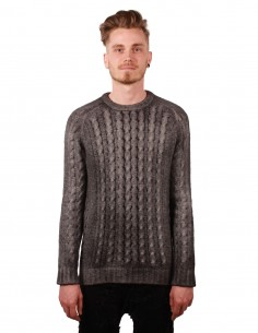 avant toi Alpaga grey pullover in cable knit