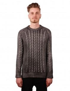 Pull avant toi en laine alpaga gris à maille torsadée