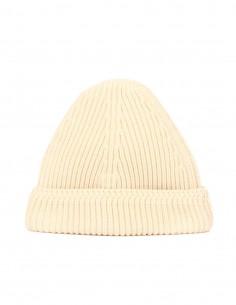 maison margiela bonnet laine maille côtelée beige