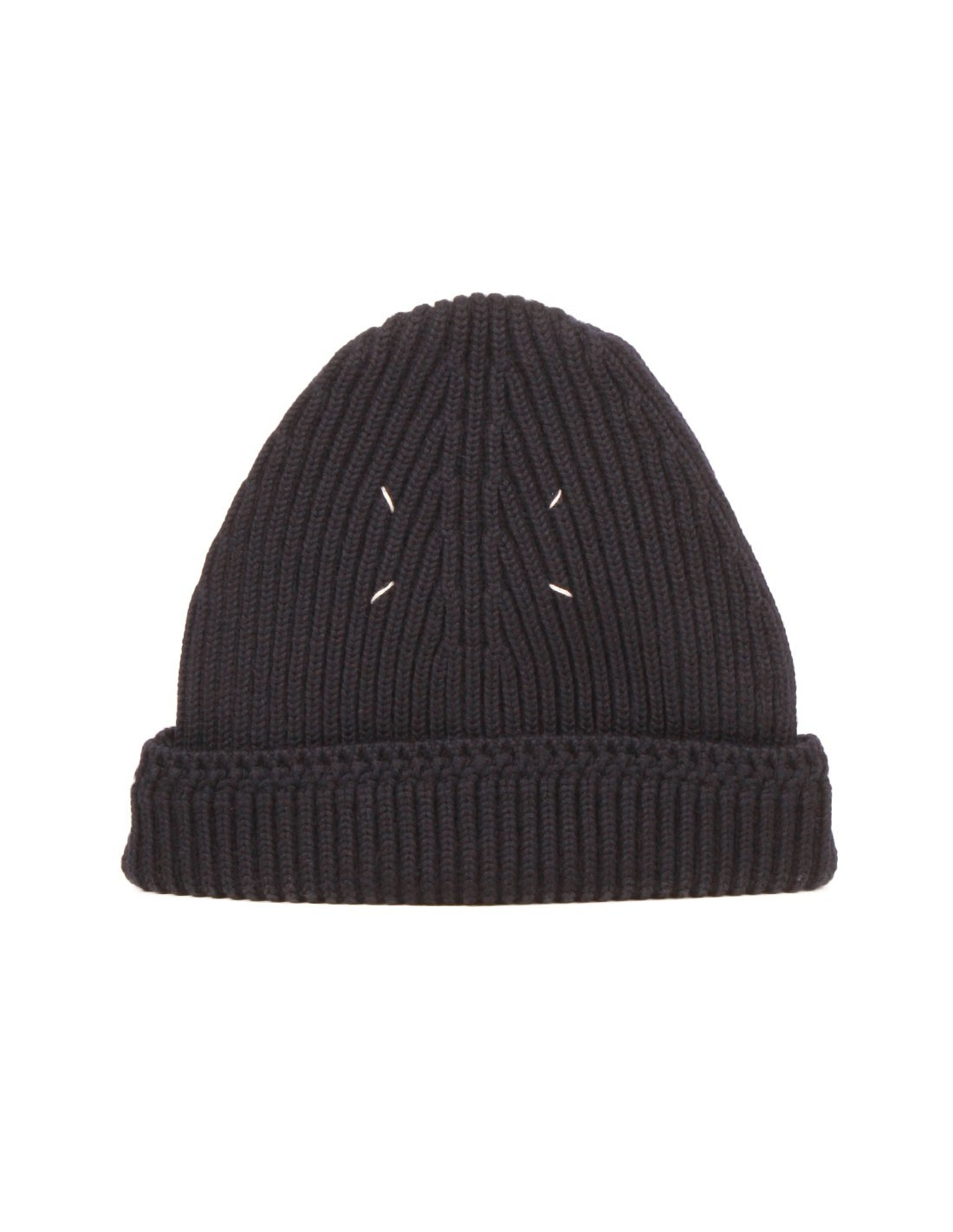 bb9015b7df8 maison margiela Beanie in navy wool with Margiela stitches