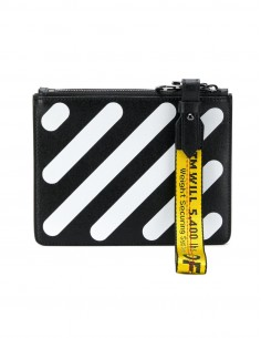 """off white """"DIAG DOUBLE FLAT POUCH"""" in black and white leather"""