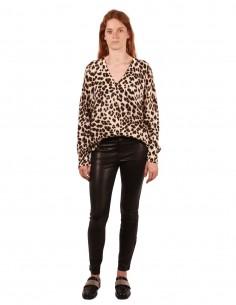 Pantalon en cuir noir coupe slim super skinny
