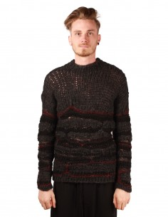 Pull isabel benenato en tricot et crochet gris