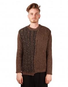 Gros pull d'hiver isabel benenato marron en laine alpaga et merinos