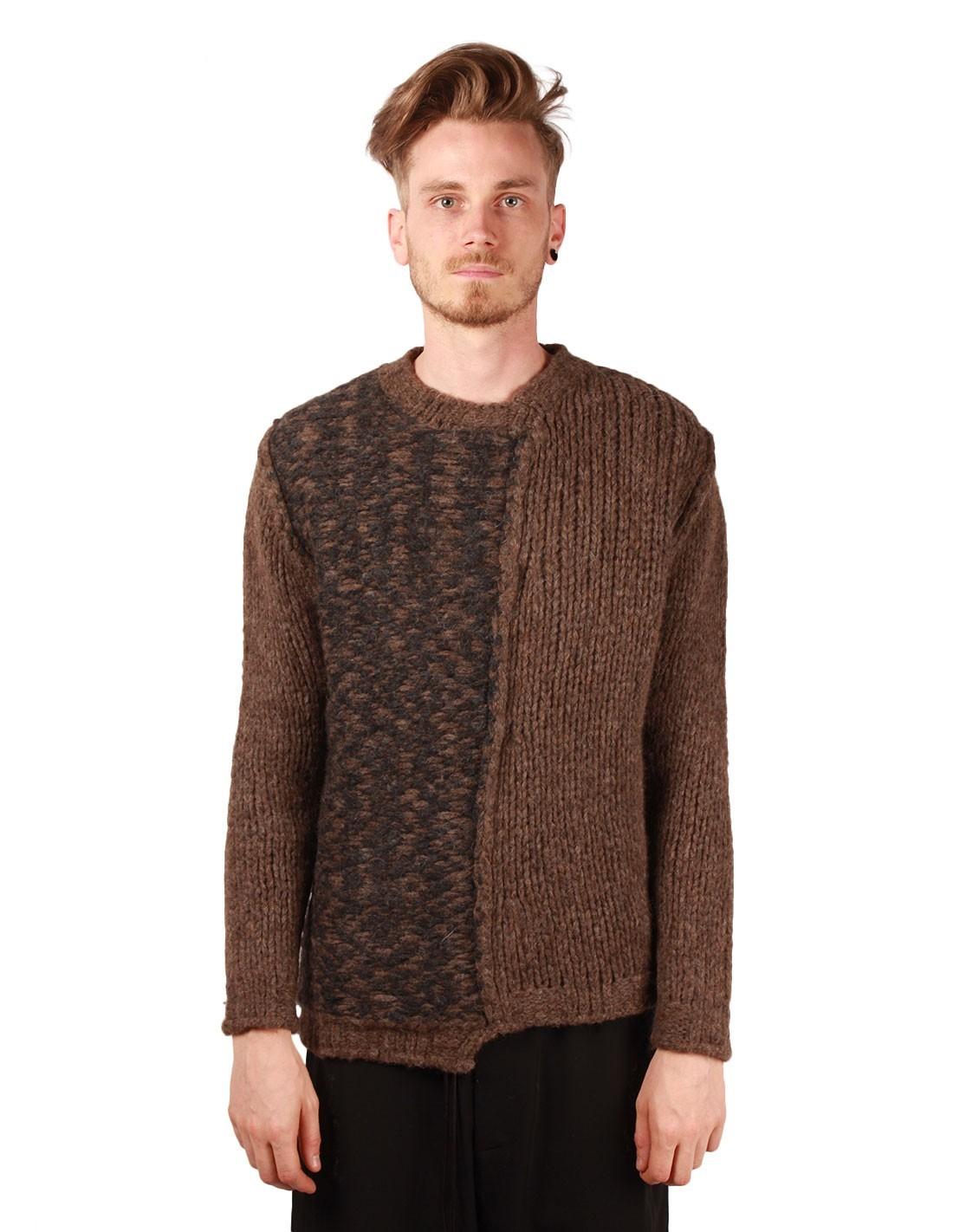 gros pull d 39 hiver isabel benenato en laine alpaga et merinos marron pour homme. Black Bedroom Furniture Sets. Home Design Ideas