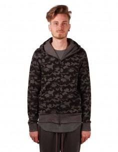 attachment Sweat à capuche motif camouflage gris