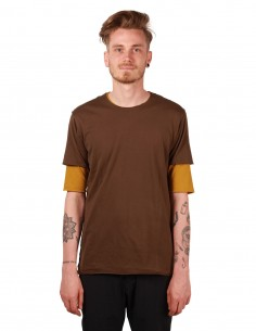 attachment Double tee in Japanese brown and mustard cotton
