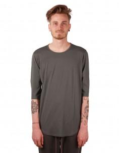 attachment T-shirt en coton vert manches 3/4