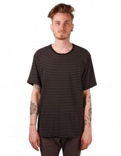 attachment T-shirt rayé en coton gris
