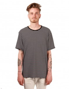 attachment Striped tee in black and white cotton