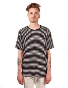 attachment T-shirt rayé en coton noir et blanc