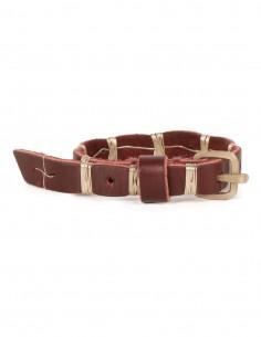 MA+ Bracelet en cuir bordeaux avec fils d'argent