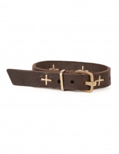 M.A+ Leather brown bracelet with silver crosses