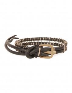 M.A.+ Bracelet double en cuir noir et fil argent enroulé