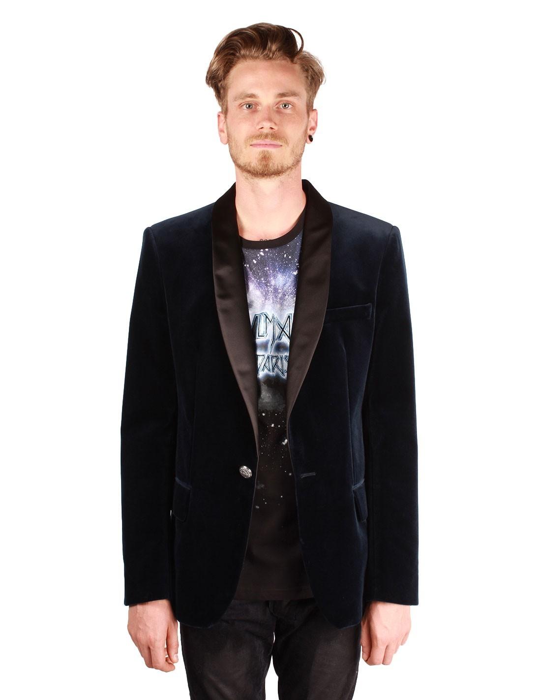 veste balmain en velours bleu col ch le en satin noir pour homme. Black Bedroom Furniture Sets. Home Design Ideas