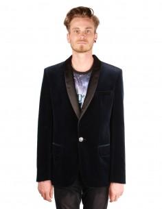 Veste balmain en velours bleu à col châle en satin noir