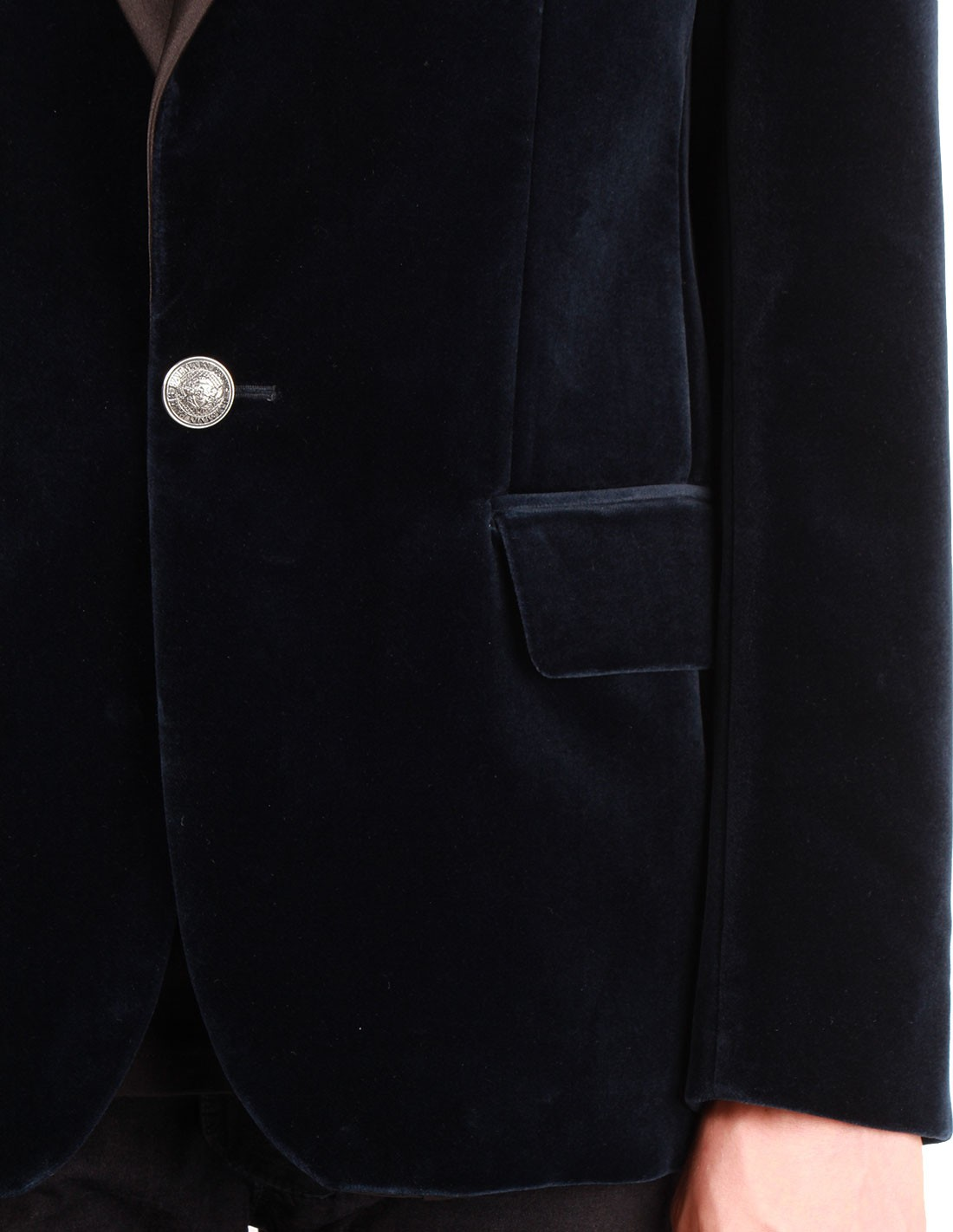 En Noir Satin Velours Pour À Homme Bleu Veste Châle Balmain Col qZwFZO5