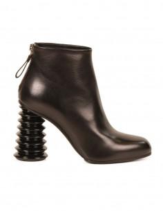 premiata Boots en cuir glacé noir et talon bobine