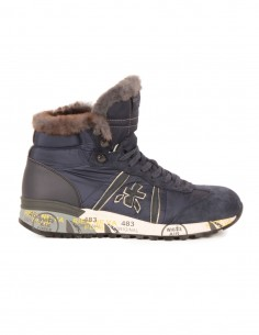 premiata white Hi-top sneakers in blue nylon and suede with rabbit fur