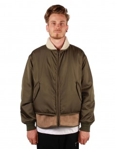 "oamc ""DECEPTION KHAKI BOMBER"" with shearling details"