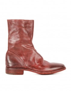 premiata Hi-top red boots in glacé leather with round toe