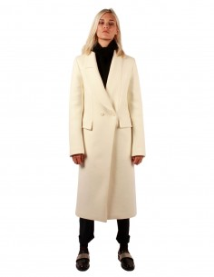 isabel benenato Double breasted coat in white wool