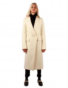 isabel benenato Long manteau croisé blanc en laine