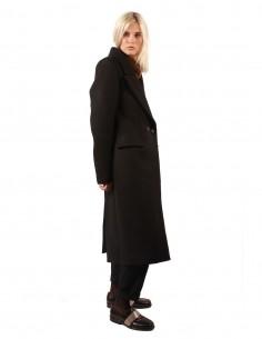 Long manteau croisé ISABEL BENENATO en drap de laine noir pour femme