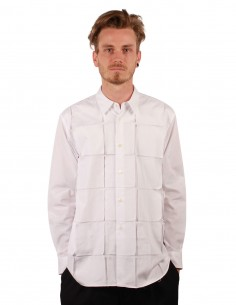cdc homme plus Chemise en coton blanc avec empiècements carrés