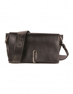 """SOFT FLAP BAG"" in black smooth leather off white"