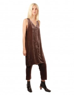 V-neck dress in lilas velvet rick owens