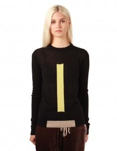 Pull noir col rond en alpaga avec bande verticale rick owens femme