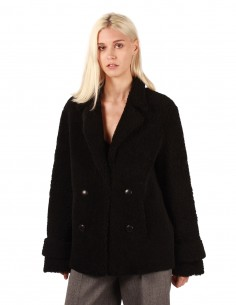 """Inès & Maréchal """"Dorota"""" double breasted coat in black shearling"""