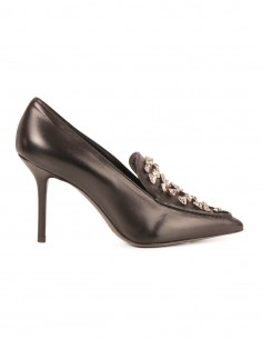 PREMIATA Black leather pumps with hammered silver stones