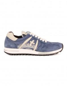 """Baskets bleues PREMIATA WHITE modèle """"KIM"""" en toile de nylon et cuir suède"""