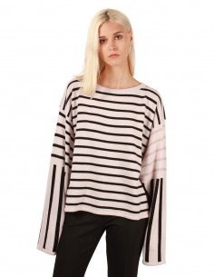 fine edge Striped cashmere sweater with extra long sleeves
